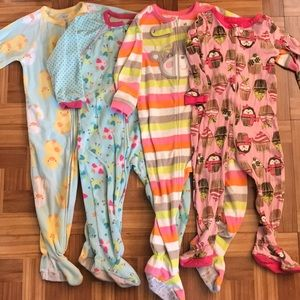 2T Girls Fleece Footed Pjs